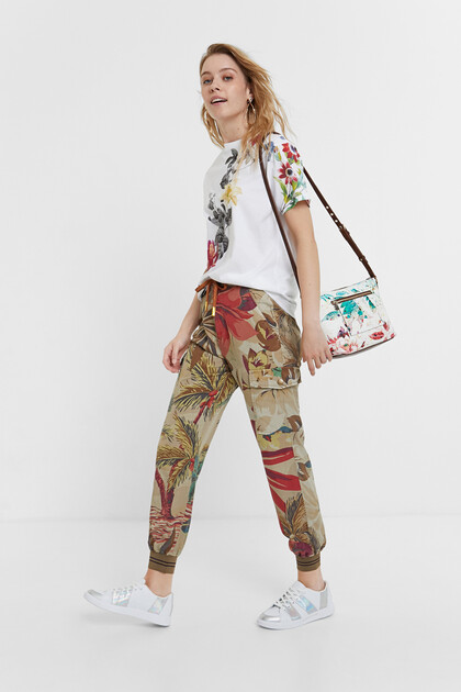 Floral Tencel™ cargo trousers