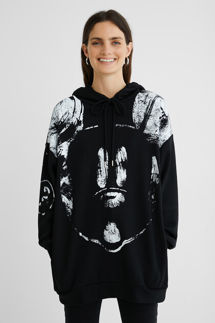 Oversize cotton hooded sweatshirt