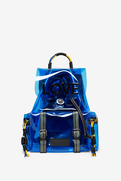 Transparent LOVE backpack with flap