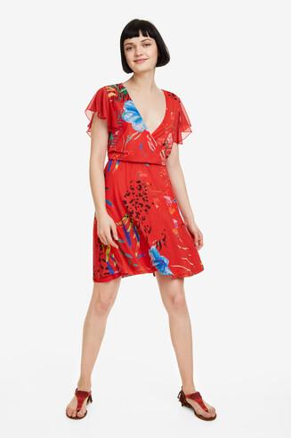 Vestito rosso con scollo a V Miranda