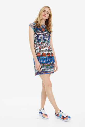 Slim Tropical Print Dress Fiona