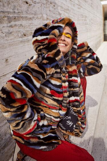 Multicolour plush short jacket | Desigual