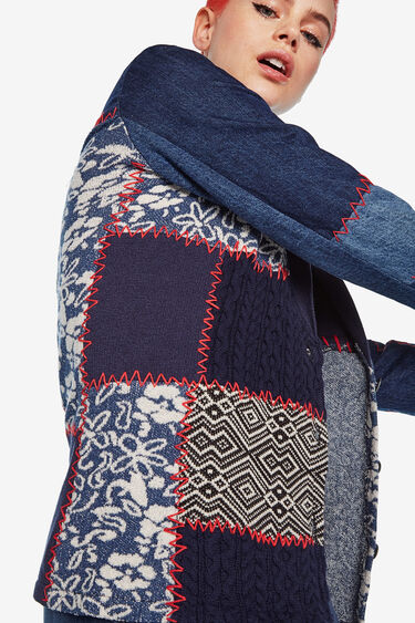 Blazer slim patchwork denim | Desigual