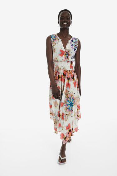 Asymmetric floral dress | Desigual