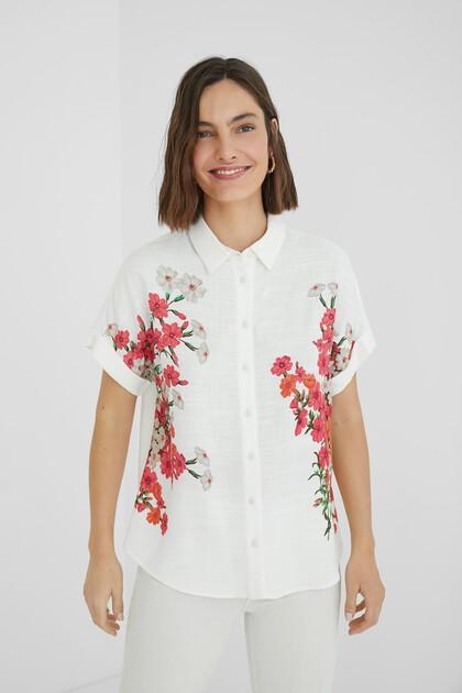 Gemusterte Bluse aus Leinen