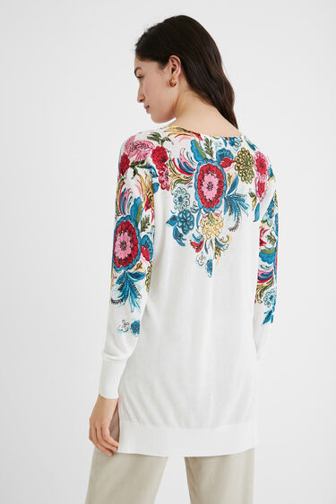 Langer Strickpullover Blumen | Desigual