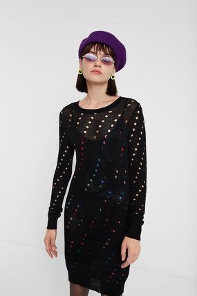 Vestido tricô multicamada