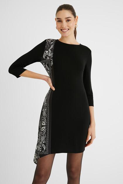 Flared asymmetric midi-dress