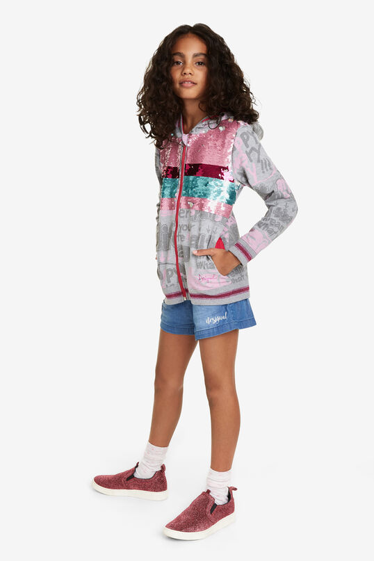 Sequinned Hooded Sweat shirt Dickens | Desigual