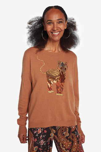 Viscose, wool and cashmere embroidered jumper