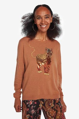 Jersey bordado de viscosa, lana y cashmere