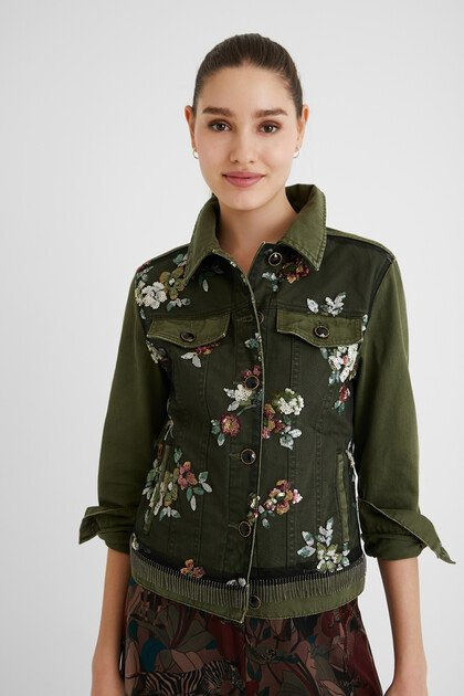 Slim jean jacket flowers