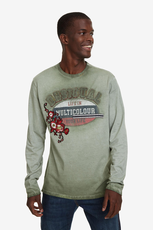 T-shirt vieilli imprimé positionnel - GREEN - S
