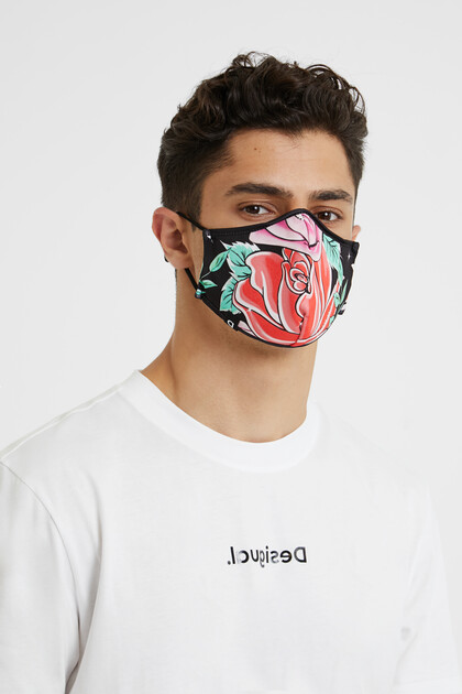 Maxi-Floral reversible mask + pouch