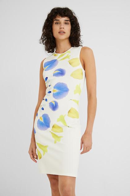 Mouwloze tricot jurk