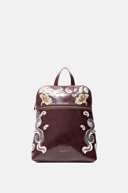 Square backpack embroidered leather effect