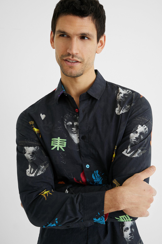 Cotton shirt arty print - BLACK - XL