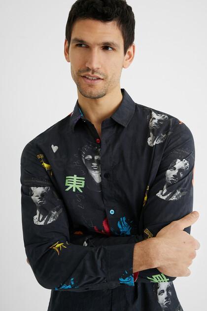 Camicia cotone stampa arty