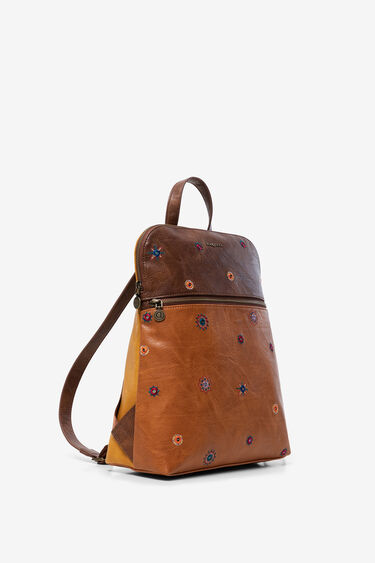 Bicolour leather backpack | Desigual