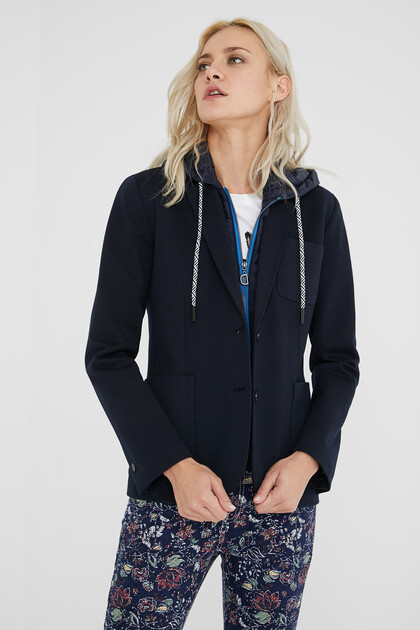 Padded blazer with hood