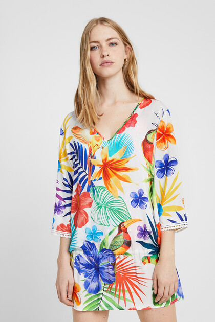 Kaftan tropical print