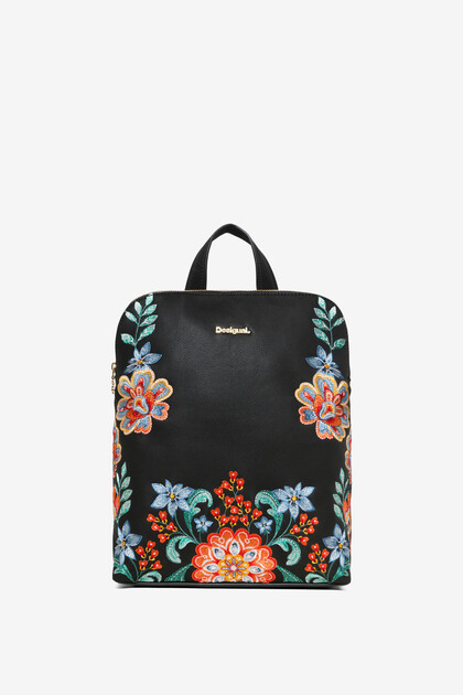 Floral embroideries backpack