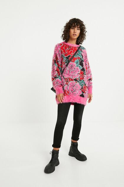 花柄トリコット オーバーサイズセーター