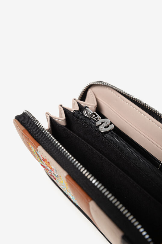 Leather effect wallet of coloured strips and paisley embroidery   Desigual