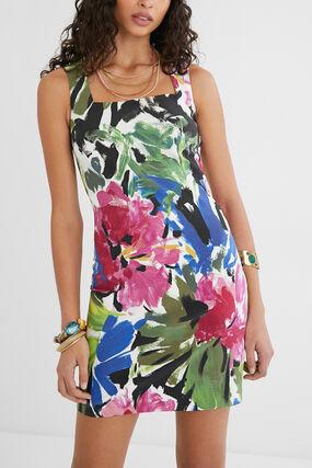 Vestido slim flores pintadas