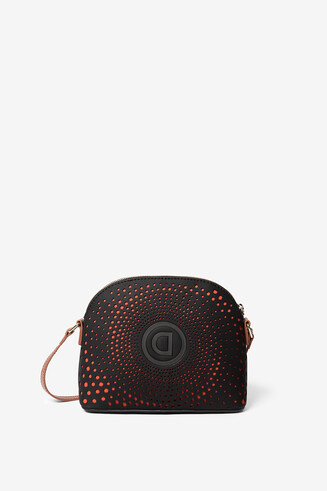 Sling bag with logo and geometric spiral