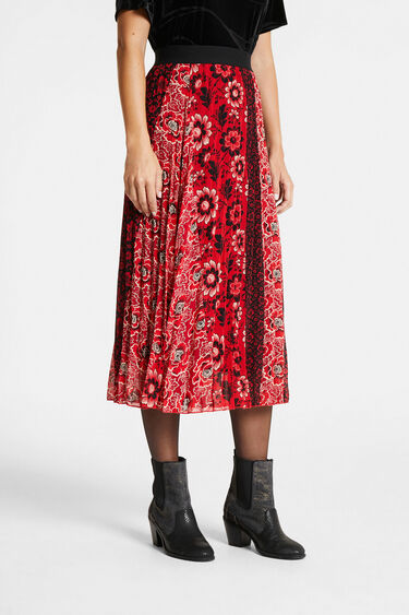 Flared skirt pleated printed | Desigual