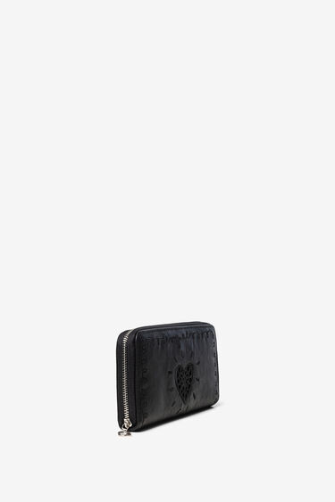Portefeuille rectangulaire coeur brodé | Desigual