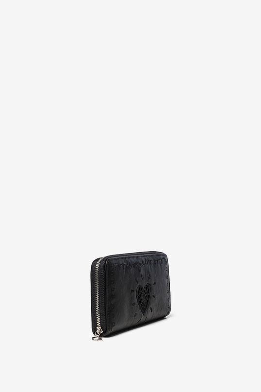 Rectangular wallet, embroidered heart | Desigual