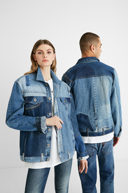 Giacca patch denim upcycling - Unisex