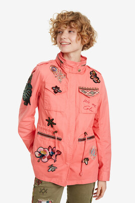 Embroidered red parka jacket Delia