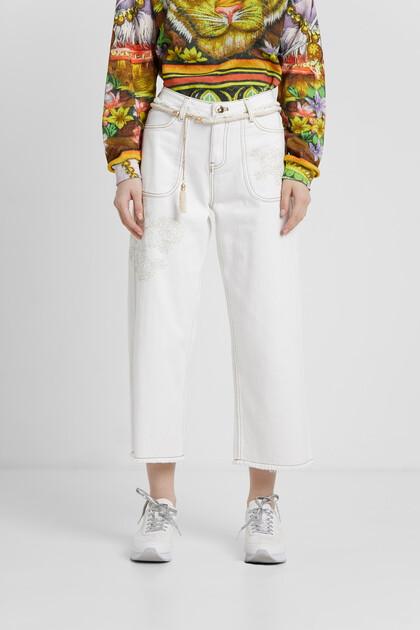 Pantalon en jean jupe-culotte