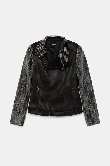 Slim tartan biker jacket | Desigual