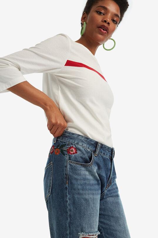 Jeans met geruite patches en bloemenborduursels | Desigual