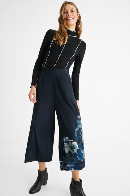 Pantaloni culotte floreale