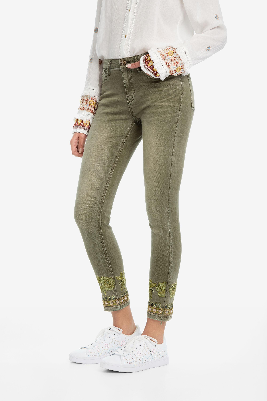 Pantalón tejano étnico skinny - GREEN - 46