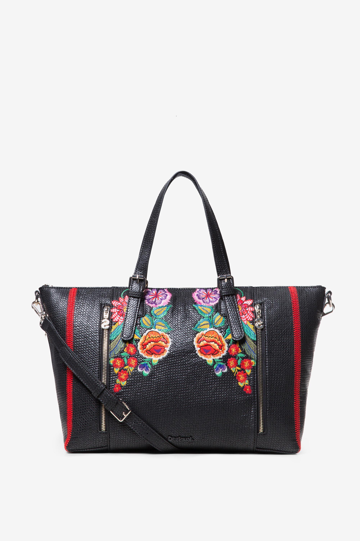 Bolso tramado flores - BLACK - U