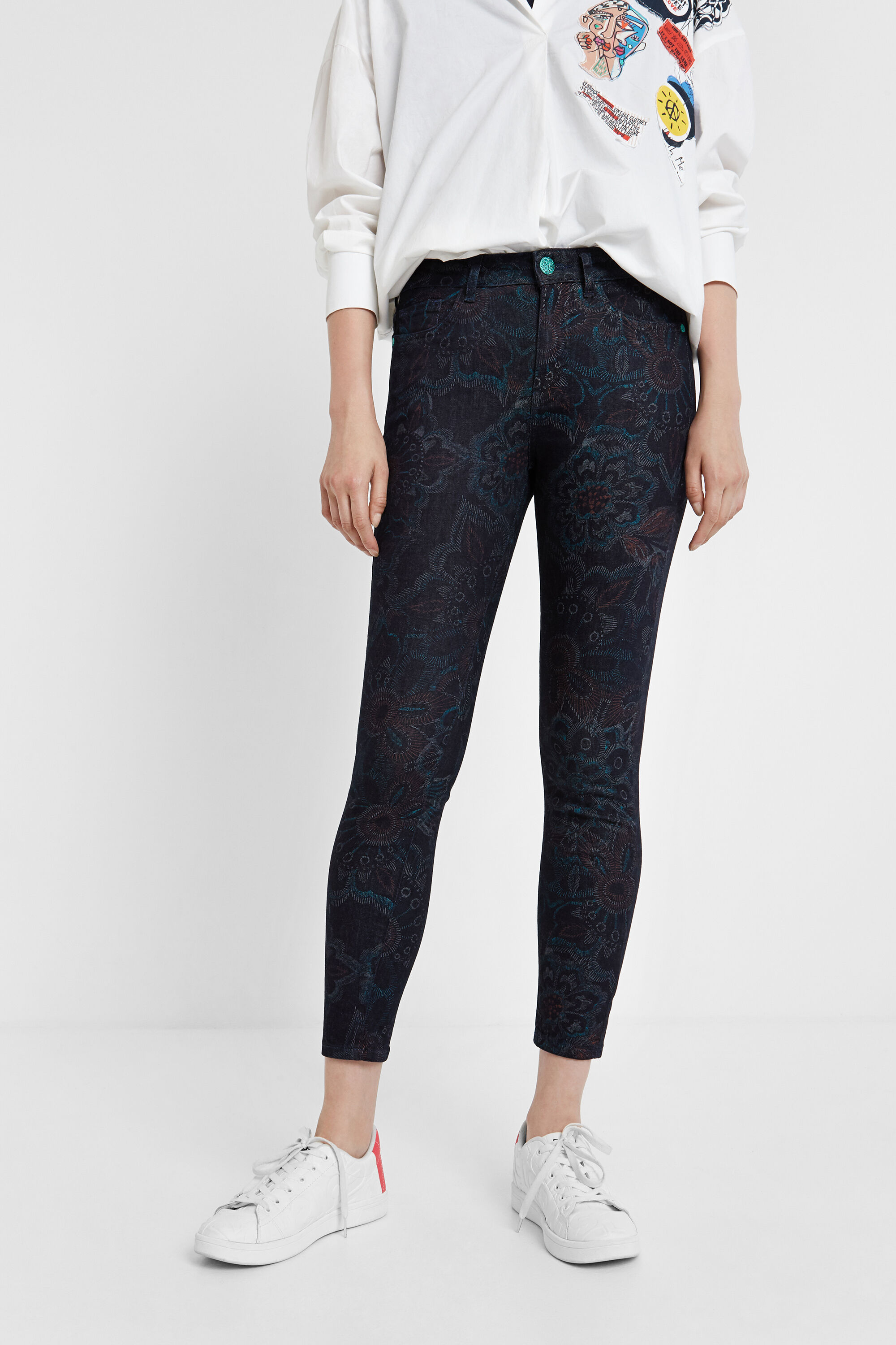 Skinny floral trousers - BLUE - 30