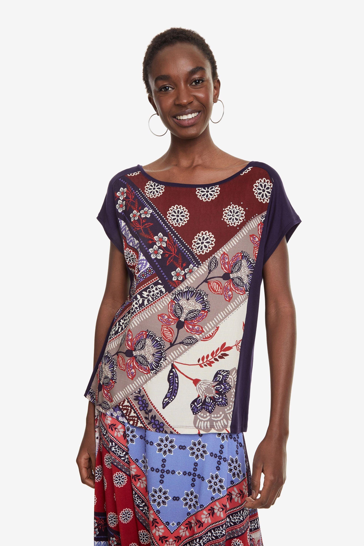 Camiseta bimateria boho Ganges - BLUE - S