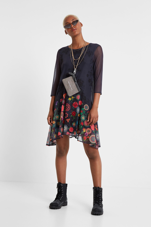 Floral multilayer dress - BLUE - S