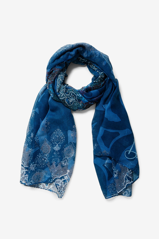 Foulard rectangulaire à mandala oriental - BLUE - U