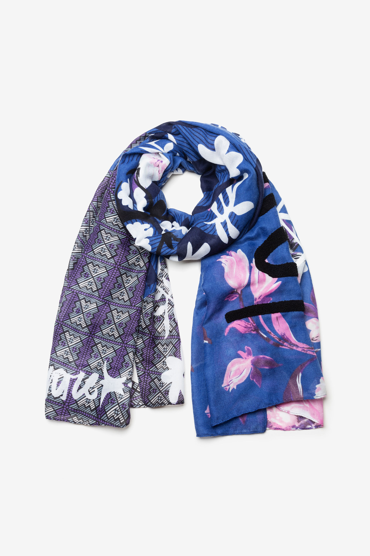 Foulard fleurs tartan - BLUE - U