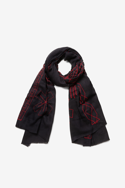 Foulard coeur franges - BLACK - U