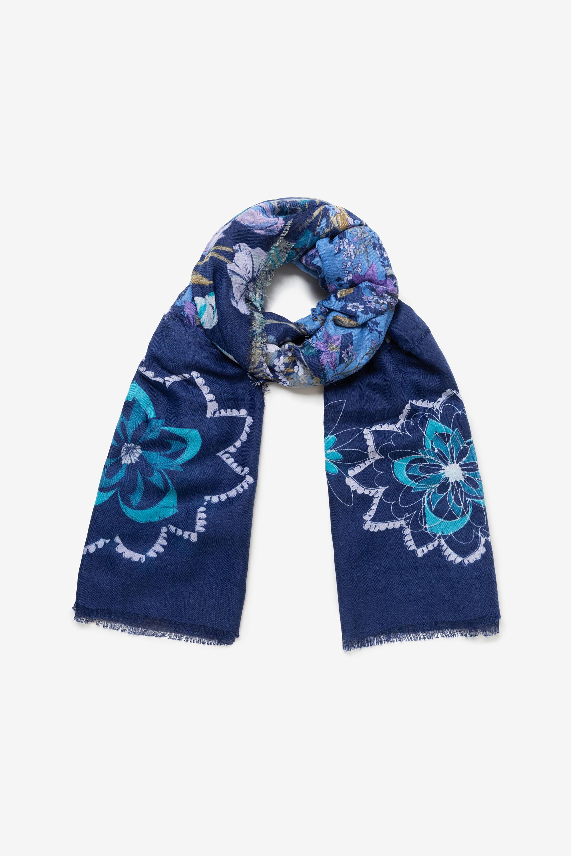 Foulard rectangulaire effiloché - BLUE - U