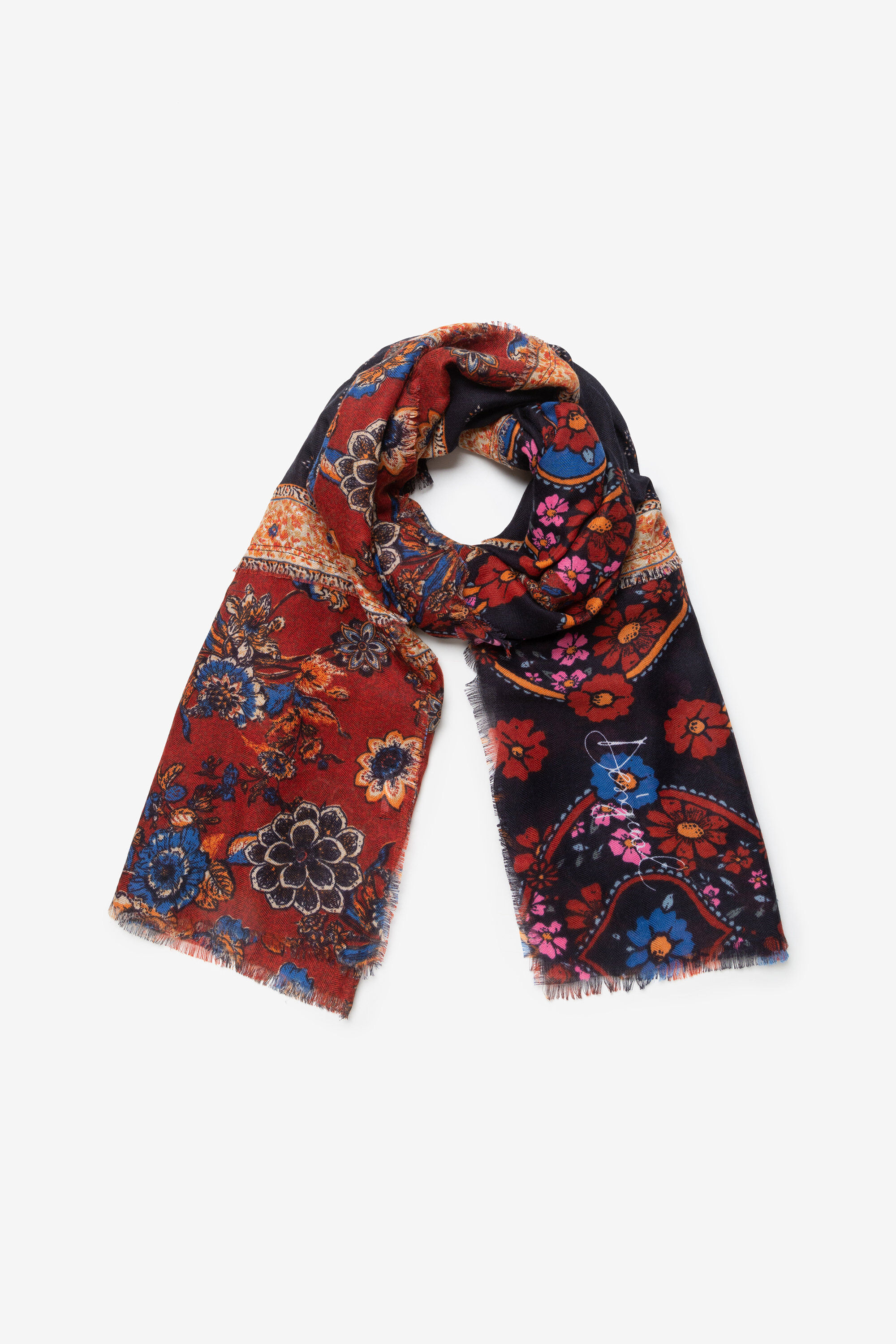 Foulard rectangulaire bohème automnal - ORANGE - U