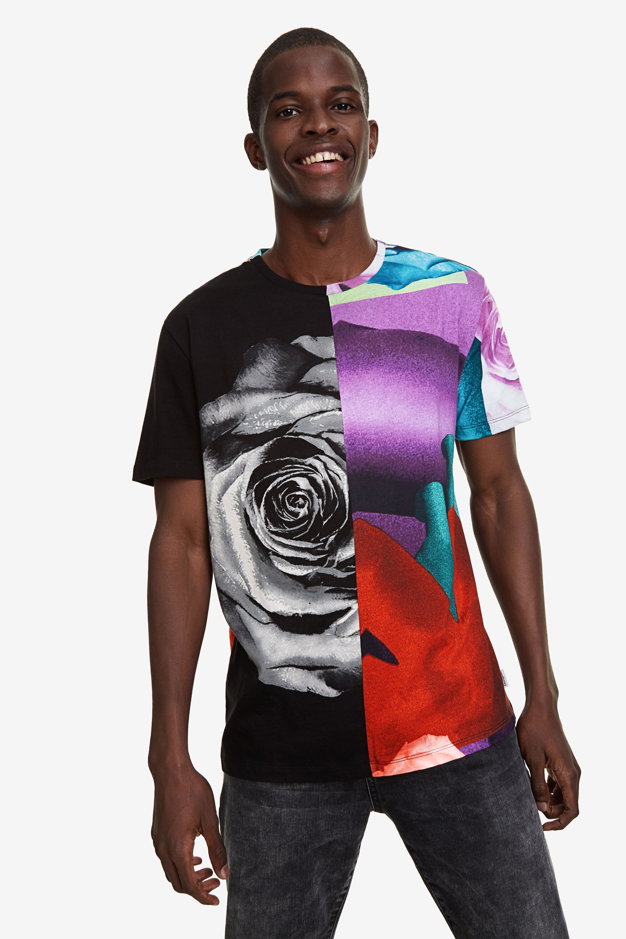Image of 100% cotton abstract T-shirt - BLACK - L